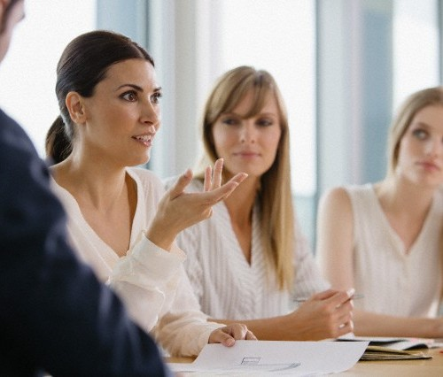 View of people during meeting in conference room